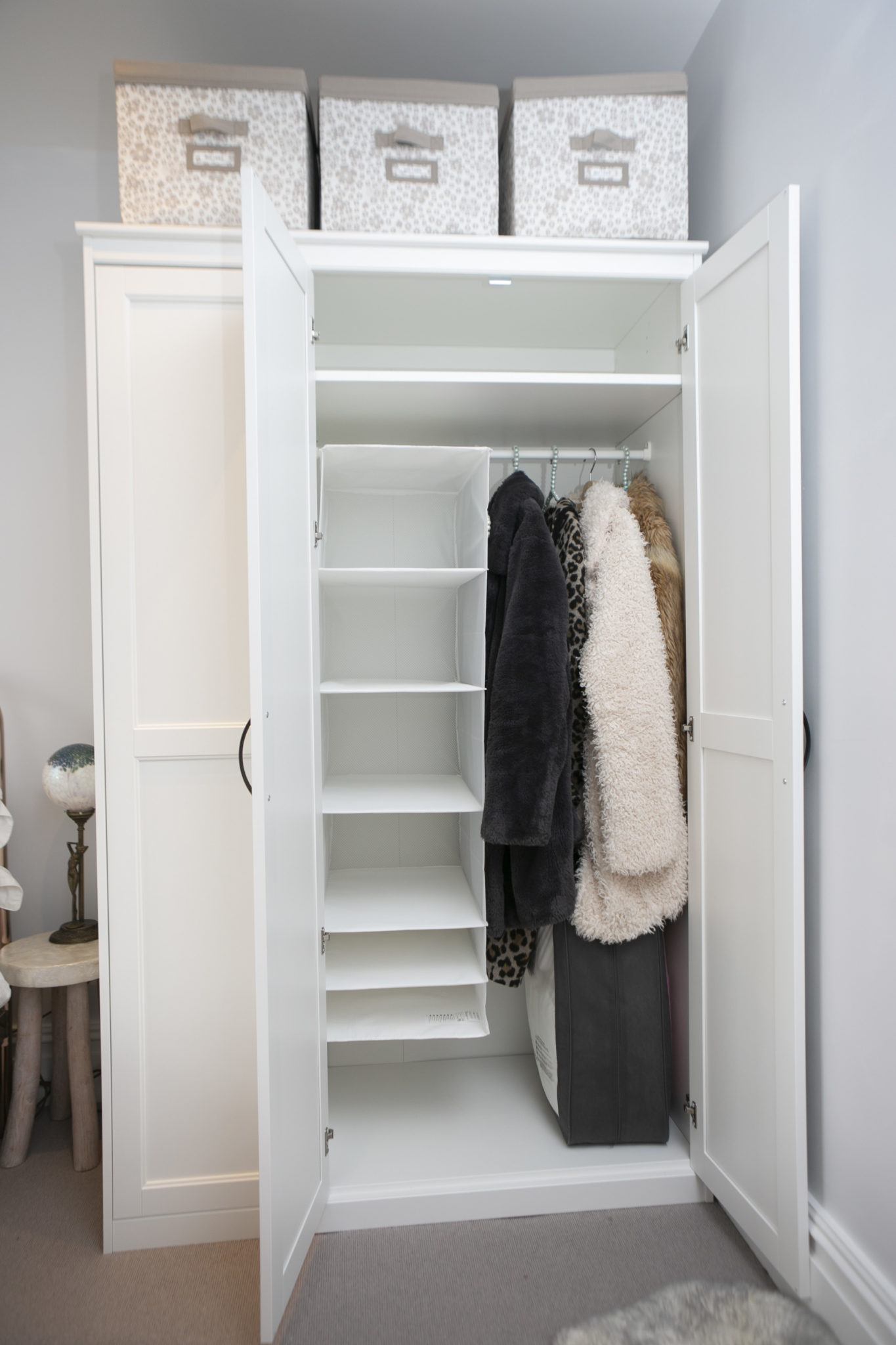 Wardrobe storage tidy and uncluttered