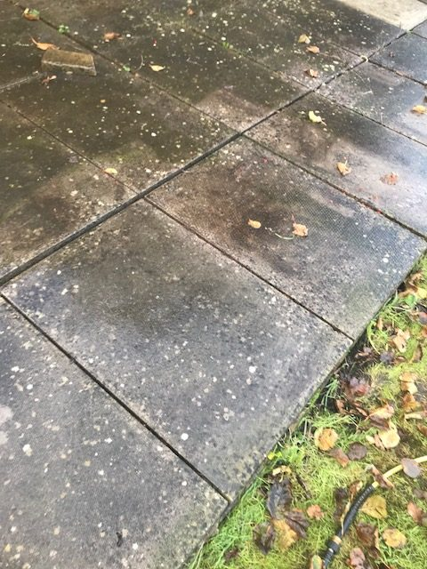 Garden patio before jet-washing