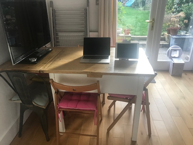 Tidy kitchen table after decluttering